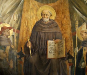 São João Gualberto, afresco de Neri di Bicci, Igreja da Santa Trindade, Florença.